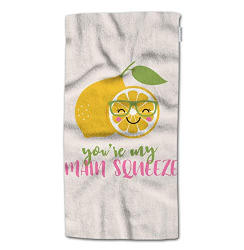NHUXAYH Toalla de Mano Lemon, Cute Cartoon Lemon con You'Re My My Main Squeeze Quotes Toallas de Mano 27.5