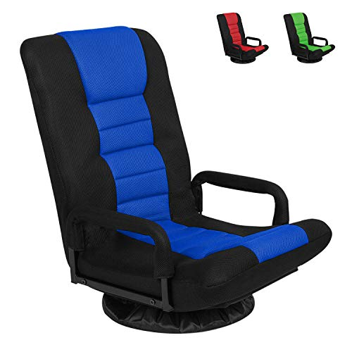 Swivel Gaming Floor Chair with Arms Back Support Adjustable Floor Sofa for Adults Teens Lazy Sofa Lounger Video Game Chair,Blue