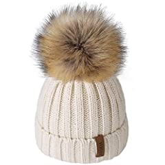🎁GREAT QUALITY: Beautifully and softly knitted. Knit part is 100% soft acrylic,pom pom is high quality faux raccoon fur. Great fit for both little boys and little girls alike. 🎁GREAT FIT: One size,the fit ranges from babies and toddlers to kids and c...
