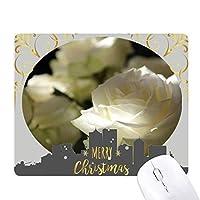 ダーク・ビッグサイズの白いバラ クリスマスイブのゴムマウスパッド