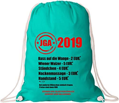 EZYshirt® JGA 2019 Junggesellenabschied Preisliste Baumwoll Stoffbeutel
