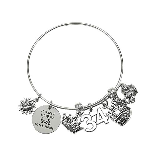 TUUXI 1pcs Birthday Gifts Bracelet 2.36 Inch Silver Tone Steel Bangle Charm Bracelet 34th Birthday Gift for Sister Friend Women Wife Girl Present Jewelry