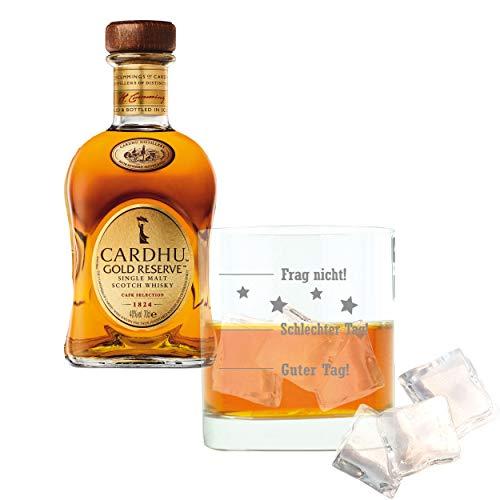 Whiskey 2er Set, Cardhu Gold Reserve, Single Malt, Whisky, Scotch, Alkohol, Alokoholgetränk, Flasche, 40%, 700 ml, 715226, Geschenk zum Vatertag, mit graviertem Glas
