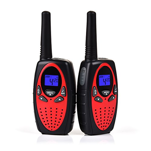 Upgrow 2X Walkie Talkies Kinder Funkgeräte Set 8 Kanäle 2-Wege Radio Walki Talki Funkhandy Interphone mit LCD Display, Kinder Speilzeug und Geschenk (Rot)