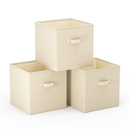 SimpleHome 3 Beige Caja almacenaje Plegables de arpillera para kallax, 33x37x33cm.