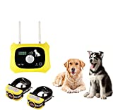 JUSTPET Wireless Dog Fence Pet Containment System, Dual Antenna Stronger More Stable Signal, Control Distance Adjustable 10 to 1000 Feet, Waterproof Rechargeable Collar Harmless for All Dogs (Yellow)