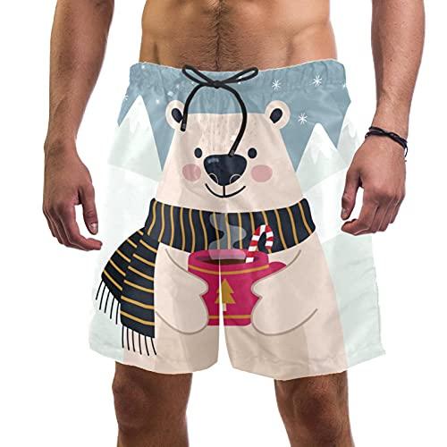 Nananma Invierno Oso Bebida Té Bañador Trunks Playa Surfing Shorts para Hombres L