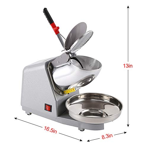 Electric Ice Crusher, FOME 300W Electric Ice Shaver Ice Snow Cone Maker Ice Blender Machine Stainless Steel Dual Blade 176LBS/HR for Ice Cream Cold Drinks Fruit Dessert and Cocktail