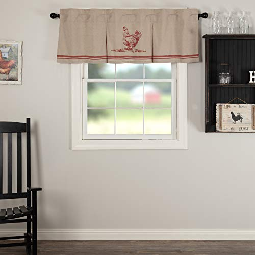 VHC Brands Farmhouse Kitchen Sawyer Mill Chicken Rod Pocket Cotton Hanging Loops Inverted Pleats Chambray Nature Print 20x60 Curtain, Valance, Red