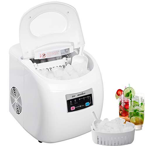 WOLTU EM03ws Eiswürfelmaschine Eismaschine Ice Maker Eiswürfelbereiter, 12kg 24h, 3 Eiswürfel-Größen, 2,8 Liter Wassertank, 120 W, ABS, weiss