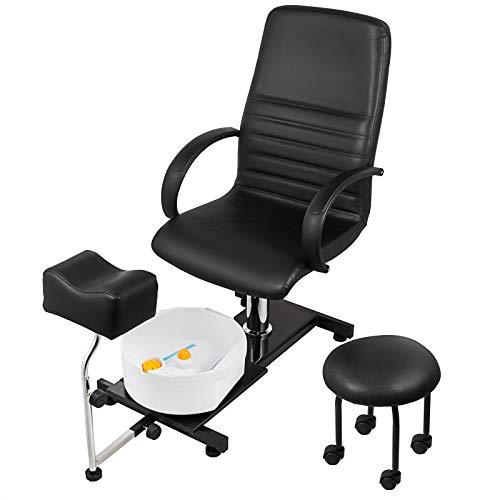 Happybuy Hydraulic Lift Adjustable Spa Pedicure Unit with Easy-Clean Bubble Massage Footbath Black