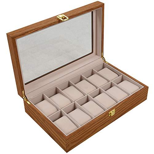 OVBBESS Caja de ExhibicióN de Reloj de Madera Retro Soporte de Embalaje Duradero ColeccióN de Joyas Almacenamiento Reloj Organizador Caja de Ceniza de 12 bits Sauce de Agua