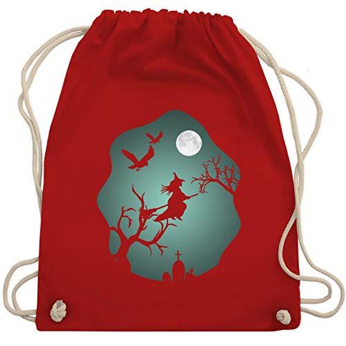 Shirtracer Halloween - Hexe Mond Grusel Grün - Unisize - Rot - rucksack halloween - WM110 - Turnbeutel und Stoffbeutel aus Baumwolle