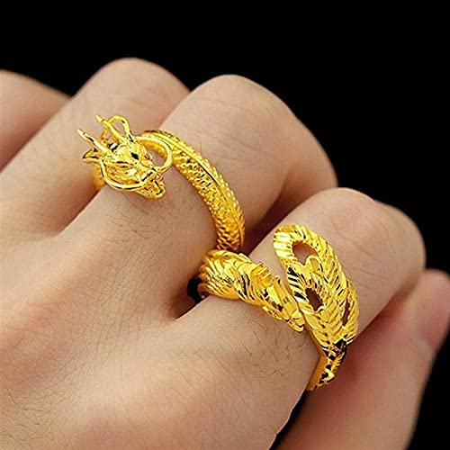 yqs Couple Ring 2PC Dragon and Phoenix Couples Ring Sand Gold Open Adjustable Big Rings Wedding Engagement Luxury Lucky Fashion Finger Jewelry Gifts (Main Stone Color : Yellow)