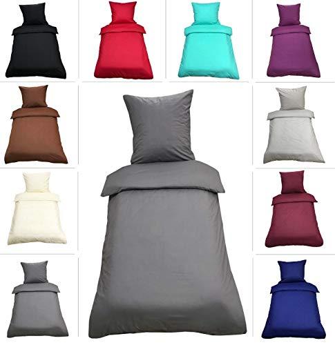 Leonado-Vicenti Uni Bettwäsche 135x200 cm 4 teilig / 2 teilig Renforce Baumwolle Bettbezüge Set, Farbe:Anthrazit, Maße:4 teilig 135x200 cm