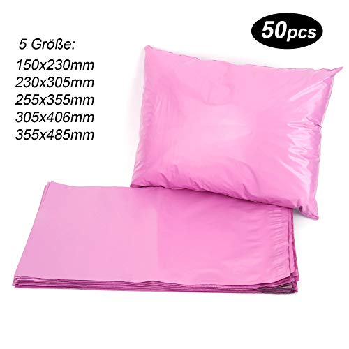 50st Versandtaschen Versandbeutel Versandtueten Blickdicht, Rosa, 150x230MM