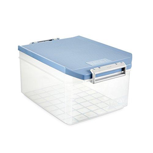 TATAY 1150107 - Caja de Almacenamiento Multiusos con Tapa, 14 l de Capacidad, Plástico Polipropileno Libre de BPA, Azul, 27 x 39 x 19 cm