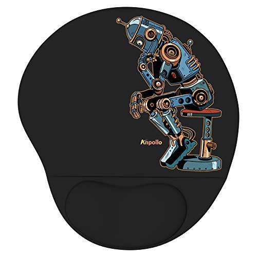 Anpollo Ergonomic Alfombrilla Raton Gel, Adecuado para computadoras y computadoras portátiles, reposamuñecas para Mouse contra Problemas de tendones, Robot