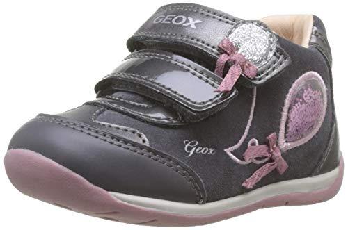 Geox Baby Mädchen B Each Girl A Sneaker, Grau (Dk Grey/Pink C0952), 22 EU