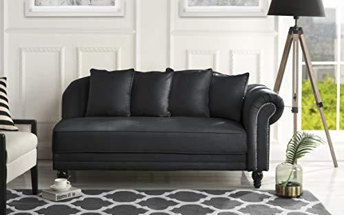 Sofamania Large Classic Velvet Fabric Living Room Chaise Lounge with Nailhead Trim (Black)