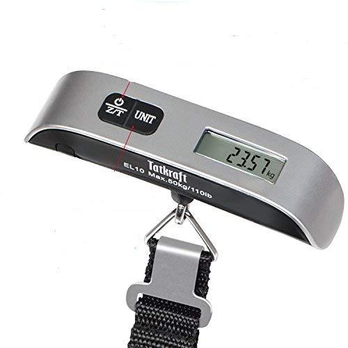 Tatkraft Approved Bilancia Digitale Pesa Valige Portatile/Bilancia Digitale Pesa Bagaglio 50kg Sensore di Temperatura, con Funzione Zero e Tare, Batteria Inclusa, Argento e Nera