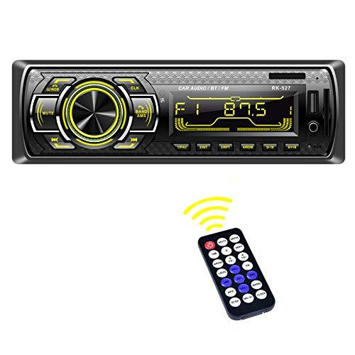 Radio Coche, LSLYA Radio Coche 1 din, Radio Coche Bluetooth con Llamadas Manos Libres, Radio Estéreo de Coche 7 Colores Apoyo de Radio FM/USB/SD/AUX, Control Remoto del Volante