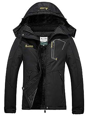FARVALUE Women's Waterproof Ski Jacket Mountain Winter Warm Snow Coat Windbreaker Snowboarding Jacket with Hood Black Medium