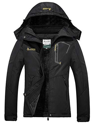 FARVALUE Women's Waterproof Ski Jacket Mountain Winter Warm Snow Coat Windbreaker Snowboarding Jacket with Hood Black X-Large
