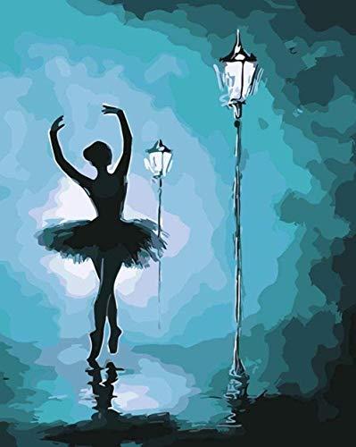 Pintura por números-bailarines bajo las luces-Diy lienzo pintura al óleo para niños estudiantes adultos principiantes con pinceles y pigmento acrílico 40x50 cm sin marco