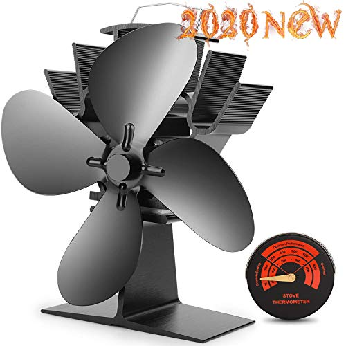 CWLAKON Heat Powered Stove Fan-2020 Upgrade Designed Silent Operation 4 Blades with Stove Thermometer for Wood/Log Burner/Fireplace-Eco Friendly and Efficient Heat Distribution(Black)