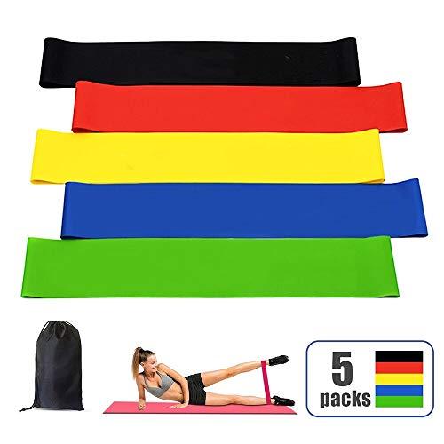 AMAYGA Elastici Fitness (Set di 5),Bande di Resistenza Fitness con 5 Livelli di Resistenza,Fasce Elastiche Fitness per Crossfit,Yoga,Pilates,Stretching,Allenamento di Forza