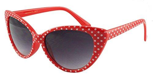 Gafas de sol de ojo de gato de Retrouv®, diseño de lunares, para mujer, modelo Super Cat Rot Weiß-Punkt mit retroUV® Beutel 56