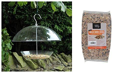 garden mile® Clear Hanging Dome Canopy Seed Feeder Bird Feeder with 1kg Bag of Bird Feed Seed Hanging Bird Nut Seeds Bird Feeder Outdoor Garden Patio Wild Birds Wildlife Food