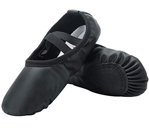 [Linodes] Ballet Dance Shoes, PU Ballet Shoes, Dance Exercise Shoes for Adults & Kids Beginners Practice - black