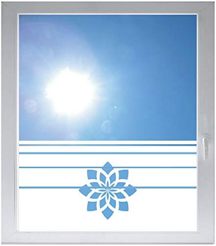 INDIGOS UG Sichtschutzfolie Glasdekorfolie Fensterfolie mit Motiv satiniert Blickdicht - E271 Schöne Blumenign - 800 mm Länge - 500 mm Höhe - Streifen