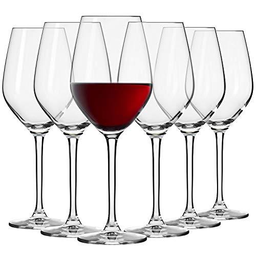 Krosno Kleine Rot-Weingläser | Set von 6 | 300 ML | Splendour Kollektion | Perfekt für zu Hause, Restaurants und Partys | Spülmaschinenfest und Mikrowellengeeignet