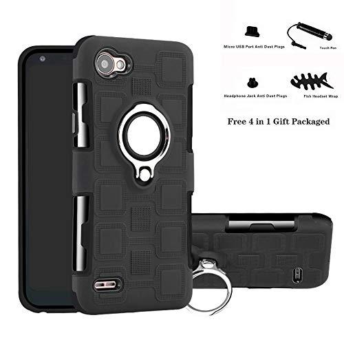 Labanema LG Q6 Funda, 360 Rotating Ring Grip Stand Holder Capa TPU + PC Shockproof Anti-rasguños teléfono Caso protección Cáscara Cover para LG Q6 / Q6 Plus / Q6 Mini - Negro