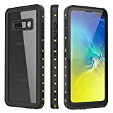 Diverbox Galaxy S10 Case, IP68 Galaxy S10 Waterproof Case,Full Body Sealed Shockproof Case for Samsung Galaxy S10, Built in Screen Protector, Slim and Durable(6.1'') (Black/Green/Clear)