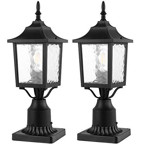 CINOTON Outdoor Post Light, 2-Pack Post Lantern with 3-Inch Pier Mount Base, Matt Black Pillar Lamp Post Fixtures with Water Ripple Glass, Post Lantern Outdoor for Patio Porch Garden Post Pole Mount