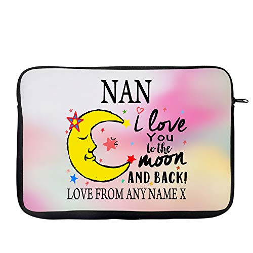 Personalised Mother's Day NAN I Love You To The Moon And Back Secret Santa Birthday Present Travel Bag Laptop Sleeve Laptop Accessories. (14')