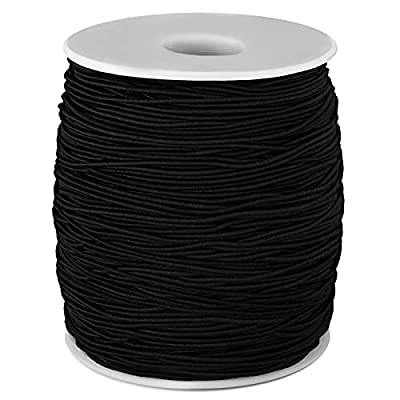 Outus 1 mm Elastic Cord Beading Threads Stretch String Fabric Crafting Cords for Jewelry Making (Black, 200 m)