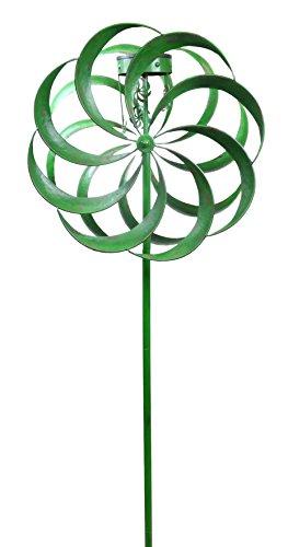 Alpine Solar Green Windmill Garden Stake, 84 Inch Tall