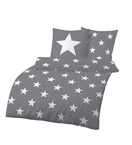 Dobnig Bettwäsche 135x200 Sterne Baumwolle | Bettwäsche Grau mit Sternen | Winter Bettwäsche Set | Sternen Bettwäsche Biber | 100% Baumwolle