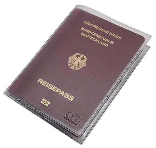 Reisepass Schutzhülle 2 Fächer MJ-Design-Germany in verschiedenen trendigen Farben Made in EU (Transparent)