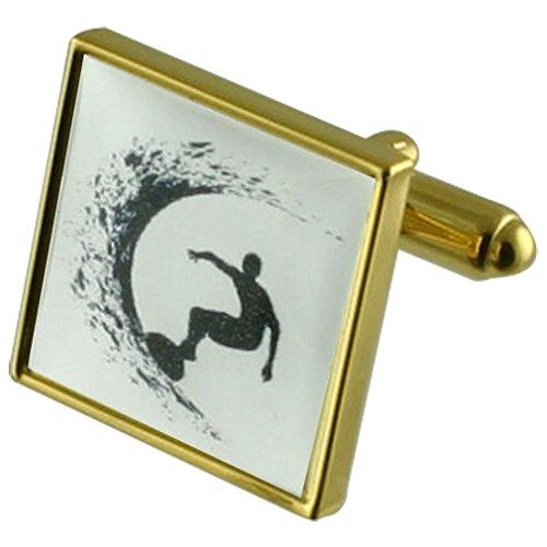 Select Gifts Surfer Ozean gold Manschettenknöpfe Wählen Sie Geschenke Beutel