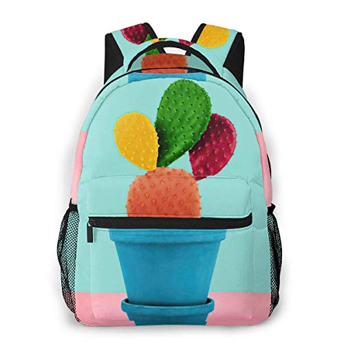 IUBBKI Colorful Cactus Casual Backpack Lightweight Canvas Daypack School Backpacks Holds 14' Laptop Versatile Design Zippered & Secure Pockets Bookbag with Bottle Side Pockets