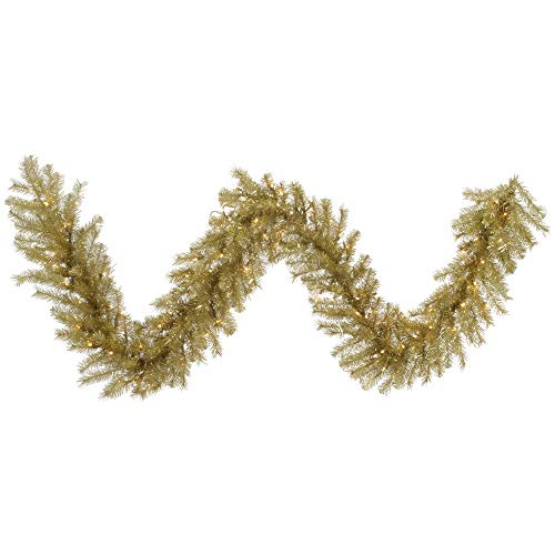 Vickerman 9' Gold and Silver Tinsel Artificial Christmas Garland, Warm White Dura-lit LED Lights - Faux Tinsel Christmas Garland - Indoor Seasonal Home Decor