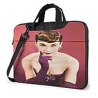 Audrey Hepburn オードリー・ヘップバーン10 ノートパソコンバッグ13.14.15.6インチのブリーフケース、パソコンシングルショルダーバッグ、防水携帯バッグ、男性女性バッグ、ビジネス旅行学院パソコンバッグ