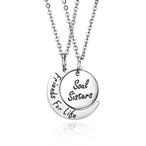 JewelryWe Collar colgante de mujer hombre niño grabado regalo con colgante en forma de luna sol Friends for Life Soul Sisters collar amistad hermanas regalo DIY plateado