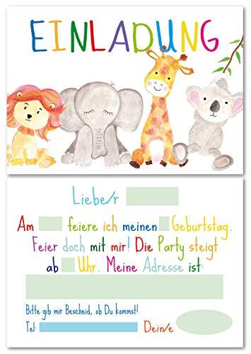 Lasse und Lucie 12 Einladungskarten für den Kindergeburtstag Dschungel Tiere / handgemaltes Design / im Format DIN A6 / zum Ausfüllen